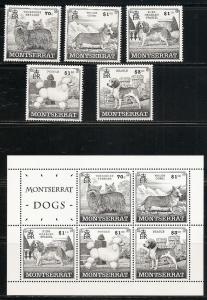 Montserrat 989-93a 1999 Dogs set and s.s. MNH