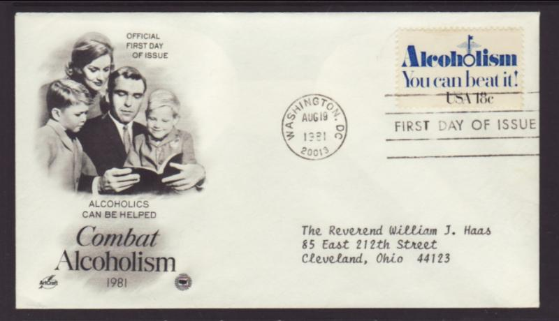 US Alcoholism 1981 PCS Typed FDC BIN