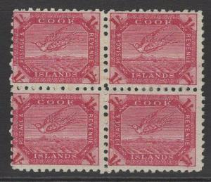 COOK ISLANDS SG20a 1900 1/= DEEP CARMINE MTD MINT BLOCK OF 4