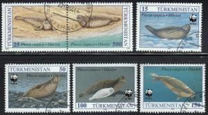 Turkmenistan #34-38 Caspian Seal, World Wildlife Fund Set, 1993. used