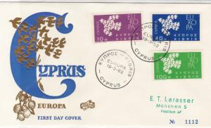 Europa Cyprus 1962 Double Cancels Gold Olive&Birds Pic FDC Stamps Cover Ref26006