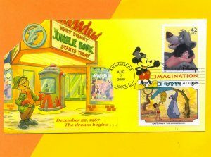 Disney•s Jungle Book Inspired My Career!  Colorful Fold-Out FDC w Bhutan Combo