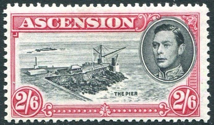 ASCENSION-1944 2/6 Black & Deep Carmine Perf 13 Sg 45c MOUNTED MINT V26411