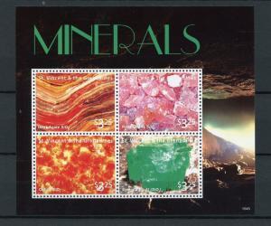St Vincent & The Grenadines 2015 MNH Minerals 4v M/S Onyx Agate Emerald Citrine