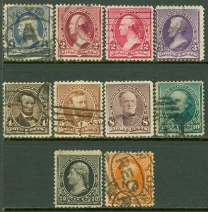 EDW1949SELL : USA 1890-93 Sc #219-23, 225-26, 228-29 VF, Used All Sound Cat $217