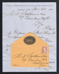 NEW HAMPSHIRE: Manchester 1853 #11 AMOSKEAG MFG MACHINE SHOP CAMEO w/Letter