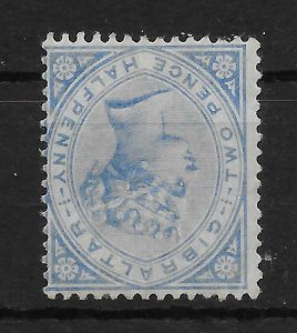 GIBRALTAR SG11w 1886 2½d BLUE INV WMK MTD MINT