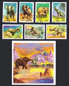 Tanzania Elephants and Mammoth 7v+MS CTO SG#1074-MS1081 SC#792-799