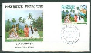 FRENCH POLYNESIA 1983 AIR  BRASILIANA #C200...FDC