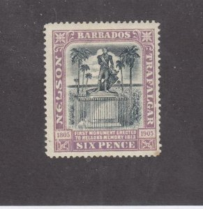 BARBADOS # 107 VF-MLH 6p LILAC/BLACK NELSONS MONUMENT CAT VALUE $22.50