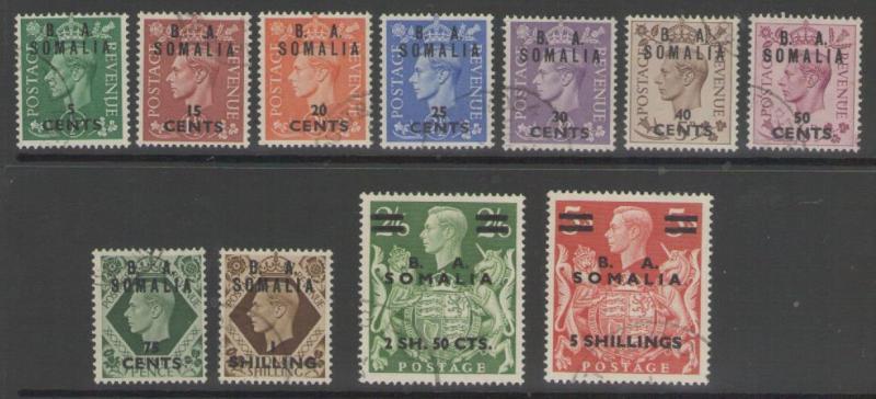B.O.I.C.-SOMALIA SGS21/31 1950 DEFINITIVE SET FINE USED