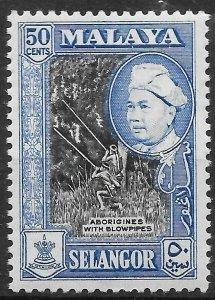 MALAYA SELANGOR SG124a 1960 50c BLACK & BLUE p12½x13 MTD MINT