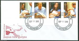 PAPUA NEW GUINEA 2013 BIRTH OF PRINCE GEORGE WITH KATE & WILLIAM  SET  FDC