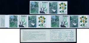 SWEDEN 1653a, Botanical Gardens. Pane of 4+Unexpl bklt. MNH