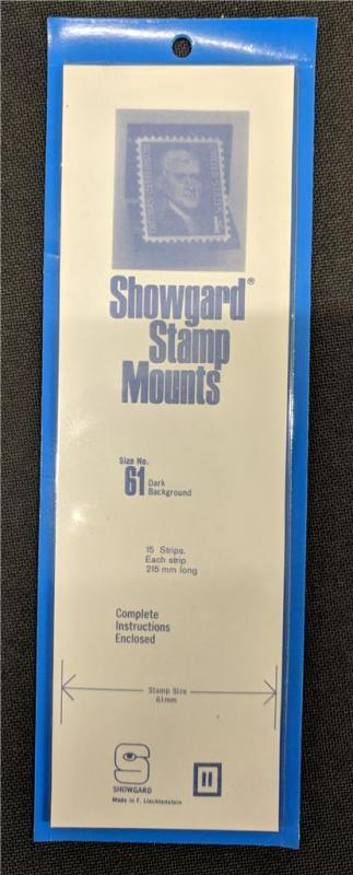 Stamp Mounts Supplies Showgard #61 New 15 strips 61mm by 215mm Black background