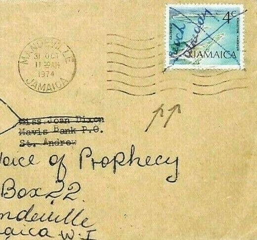JAMAICA Cover *PEN CANCELLED* Forwarded 1974 Mandeville {samwells-covers} CW287