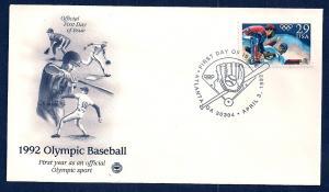 UNITED STATES FDC 29¢ Olympic Baseball 1992 Postal Society
