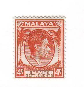 Straits Settlements Sc 240 1937 4 c  G VI stamp mint