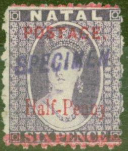 Natal 1895 1/2d on 6d Violet Specimen SG114s Fine Lightly Mtd Mint
