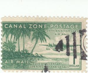 Canal Zone, Scott #C20 - $1 Green - Used - SCV $27.50