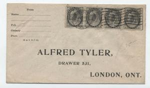 1904 Canada 1/2 cent strip of 4 London ONT cover [y3368]