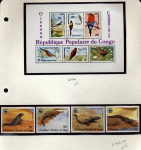 Congo Republic Topical collection Birds, reptiles,Fish Flowers NH $63.00