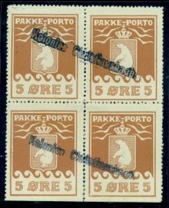GREENLAND #Q3a 5ore Pakke Porto, pr. II, Blk, used w/Kolonien cxl Gronlund cert