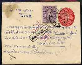 Indian States - Travancore 1910 3/4Ch Native p/stat env w...