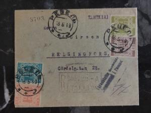 1919 Estonia Scarce Registered Cover  to Helsinki Finland Sc # 1-4 Imperfs