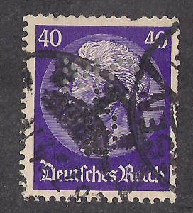 GERMANY: 40pf Hindenburg Issue, #427 w PERFIN MCB used