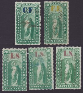 Ontario Law overprinted Revenue stamps (x5) 1864 - used