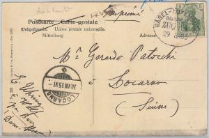 GERMANY  -  POSTCARD to SWITZERLAND with AMBULANT POSTMARK: Basel - Luxembourg