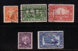 Canada Sc 141-5 1927 Confederation stamp set used