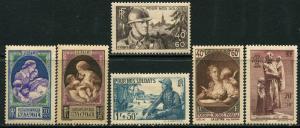 France Lot 6613 RF Postes 1939 YVERT 441-2 MNH 451-2 OGHR 446-7 MNH semi-postal