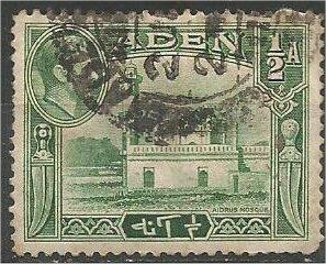 ADEN, 1939, used 1/2a, Mosque Scott 16