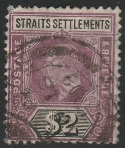 Malaya Singapore 1905 Straits Settlements KE VII $2 Used MCCA SG#137 M1581