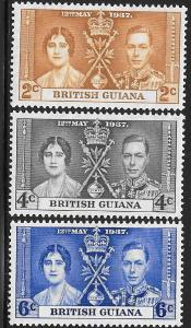 British Guiana 227-229 Unused/Hinged Hinge Remnant - George VI Coronation
