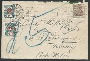 SWITZERLAND 1911 cover Germany to Bonigen - postage dues added.............58378