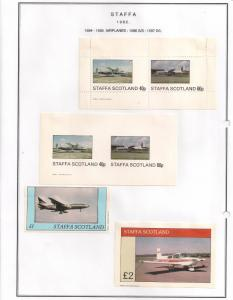 SCOTLAND - STAFFA - 1982 - Aircraft - Perf. Imp 2v, Souv, D/L Sheets -MLH