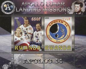 Rwanda Apollo 14 Lunar Landing Missions Souvenir Sheet of 2 Stamps Mint NH