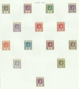 Mauritius 1938-49 Set of 14 Sg 252-263 +255B & 256B Hinged to page, M/M {C/P-25}