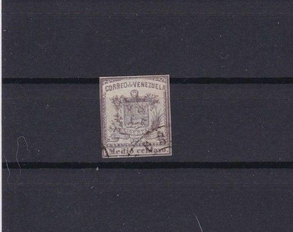 VENEZUELA 1862 IMPERF   STAMP ½ c LILAC  USED  CAT £190      REF 6285