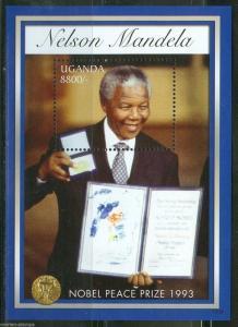 UGANDA 2013 NELSON MANDELA 20th ANN NOBEL PEACE PRIZE RECEIPIENT S/S  MINT NH