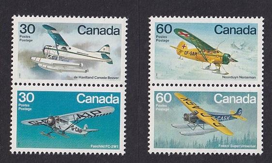 Canada  #969-970a  MNH  1982  block with two pairs airplanes 30c