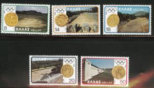 GREECE Scott 1362-66 MNH** 1980 Olympic Coin stamp set