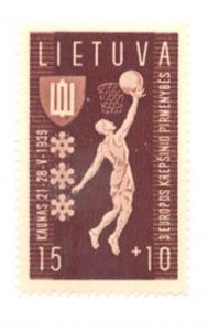 Lithuania Sc B52 1939 15c + 10c Basketball stamp mint