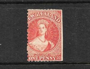 NEW ZEALAND 1862-64  1d  CARMINE VERMILLION FFQ  p13  MNG  CP A1F2  SG 69 CHALON
