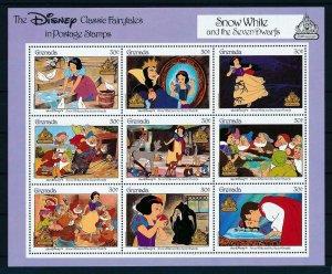 [107495] Grenada 1987 Disney classic fairy tales Snow White Dwarfs Sheet MNH