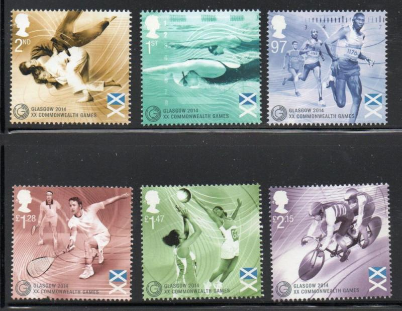 Great Britain Sc 3305-10 2014 Commonwealth Games stamp set mint NH