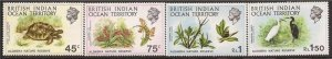 B.I.O.T. - 1971 Aldabra Nature Reserve Tortoise Lily Egret - 4 Stamp Set #39-42